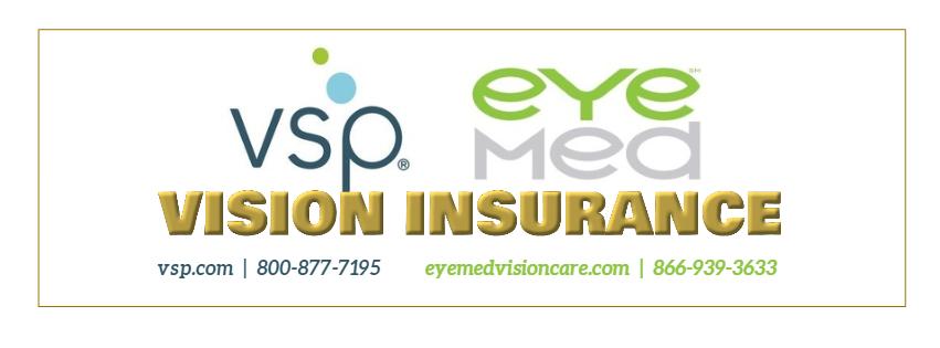 Vision Insurance through VSP phone number 800-877-7195 or EyeMed Phone number 866-939-3633